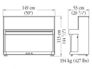 Caractéristiques du piano Yamaha modèle B2