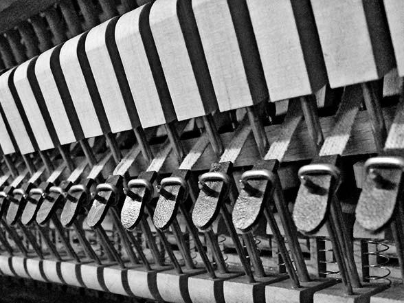 Mécanique d'un piano réparé